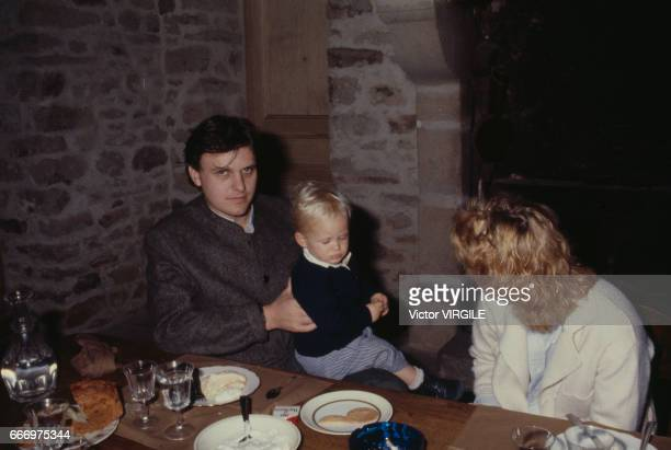 Jean-Charles de Castelbajac, Catherine de Castelbajac and their son at home in October, 1980 in France.