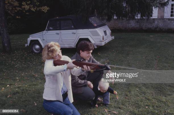 Jean-Charles de Castelbajac, his wife Catherine de Castelbajac and their son at home in October, 1980 in France.
