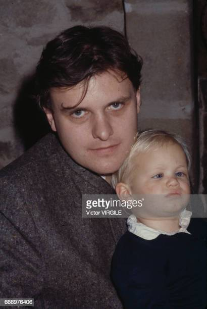 JeanCharles de Castelbajac with his son at home in October 1980 in France