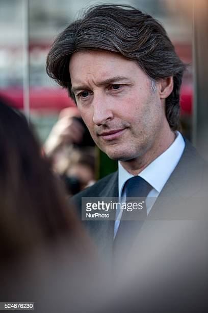 JeanCharles Decaux chairman of the board and coCEO of multinational advertising corporation JCDecaux launchs a bus stop fitted with a touch screen...