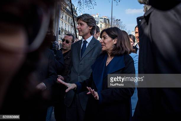 JeanCharles Decaux chairman of the board and coCEO of multinational advertising corporation JCDecaux and Mayor of Paris Anne Hidalgo during the...