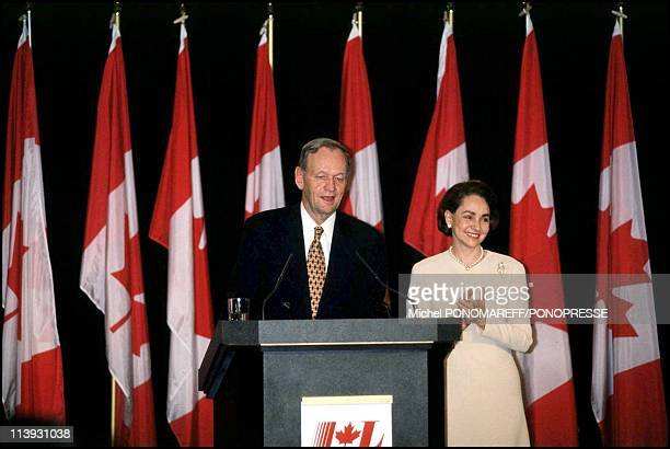 Jean-Chretien reelected as Prime Minister In Shawinigan, Canada On November 27, 2000-With wife Aline.