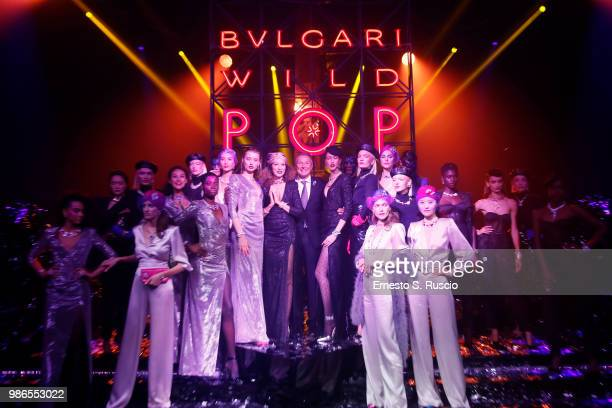 JeanChristophe Babin and models after the runway BVLGARI Dinner Party at Stadio dei Marmi on June 28 2018 in Rome Italy