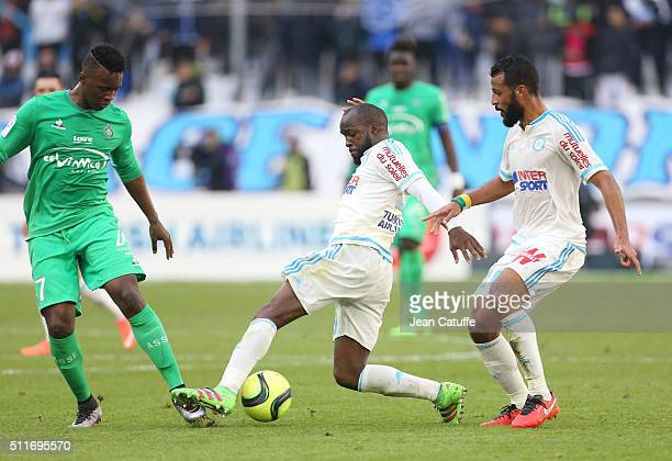 JeanChristophe Bahebeck of SaintEtienne Lassana Diarra and Alaixys Romao of OM in action during the French Ligue 1 match between Olympique de...