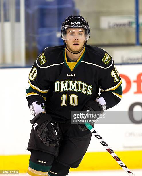 Jean-Christophe Laflamme of the St. Thomas University Tommies before NCAA exhibition hockey against the Massachusetts Lowell River Hawks at the...
