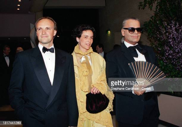 Jean-Christophe Maillot and his wife, and Karl Lagerfeld attend the 33th Rose Ball on March 12, 1994 in Monaco, Monaco.