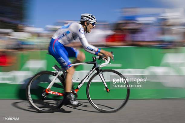 JeanChristophe Peraud of France rides during the final stage of Tour of Switzerland a 268 km time trial between Bad Ragaz and Flumserberg on June 16...