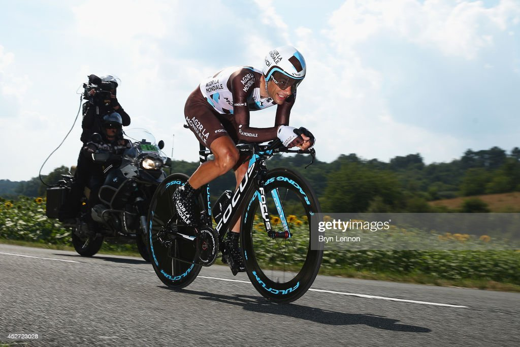 Jean-Christophe Peraud of Team AG2R La Mondiale in action during the twentieth stage of the 2014 Tour de France, a 54km individual time trial stage between Bergerac and Perigueux, on July 26, 2014 in Perigueux, France.