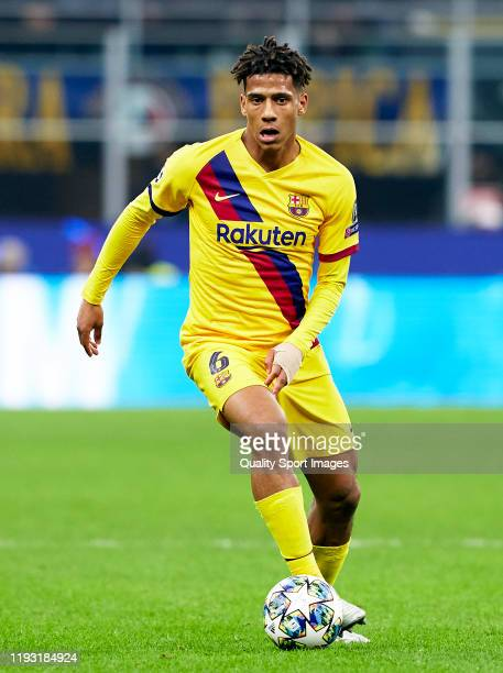 Jean-Clair Todibo of Barcelona runs with the ball during the UEFA Champions League group F match between Inter and FC Barcelona at Giuseppe Meazza...