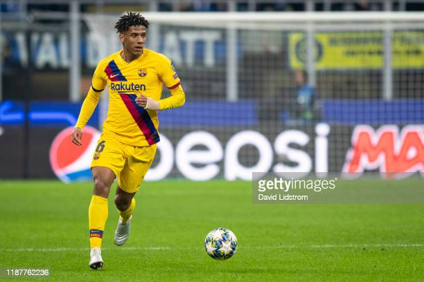 Jean-Clair Todibo of FC Barcelona during the UEFA Champions League group F match between Inter and FC Barcelona at Giuseppe Meazza Stadium on...