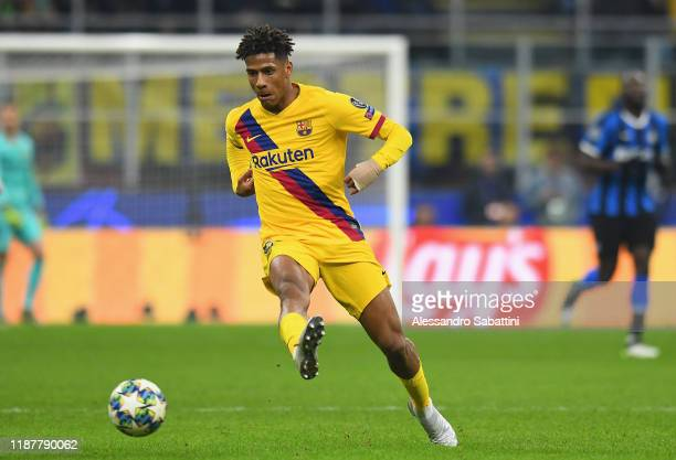 Jean-Clair Todibo of FC Barcelona kicks the ball during the UEFA Champions League group F match between Inter and FC Barcelona at Giuseppe Meazza...