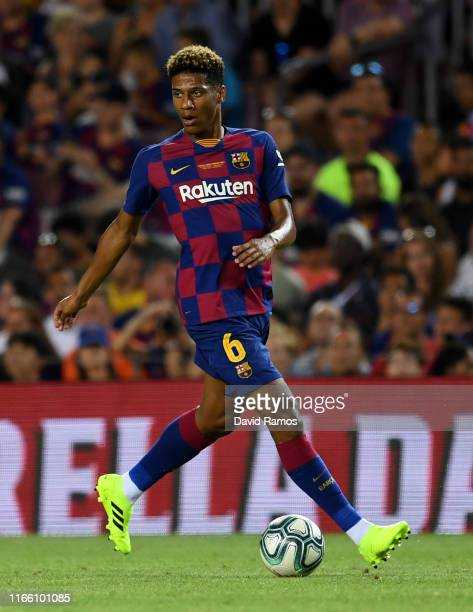 Jean-Clair Todibo of FC Barcelona runs with the ball during the Joan Gamper trophy friendly match between FC Barcelona and Arsenal at Nou Camp on...