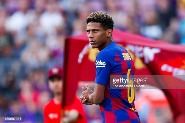 Jean-Clair Todibo of FC Barcelonawaves to supporters ahead of the match between FC Barcelona and Arsenal at Nou Camp on August 04, 2019 in Barcelona,...