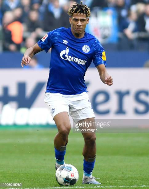 Jean-Clair Todibo of FC Schalke 04 controls the ball during the Bundesliga match between FC Schalke 04 and TSG 1899 Hoffenheim at Veltins-Arena on...