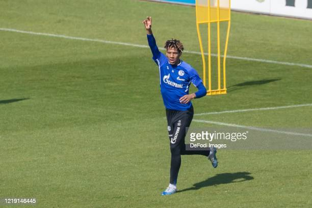 Jean-Clair Todibo of FC Schalke 04 gestures during the FC Schalke 04 Training Session on April 16, 2020 in Gelsenkirchen, Germany.