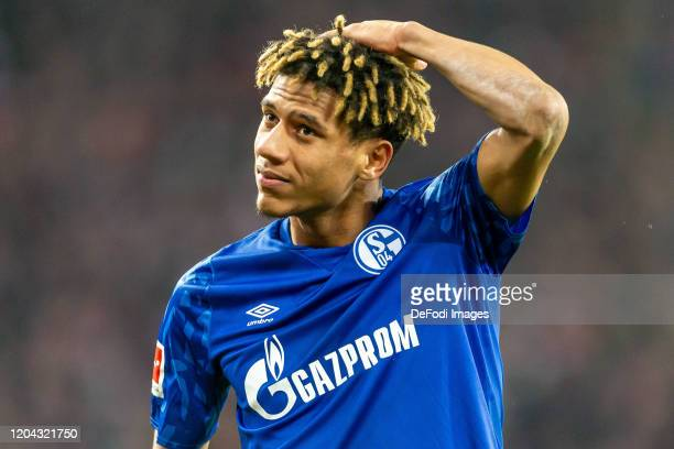 Jean-Clair Todibo of FC Schalke 04 looks dejected after the Bundesliga match between 1. FC Koeln and FC Schalke 04 at RheinEnergieStadion on February...