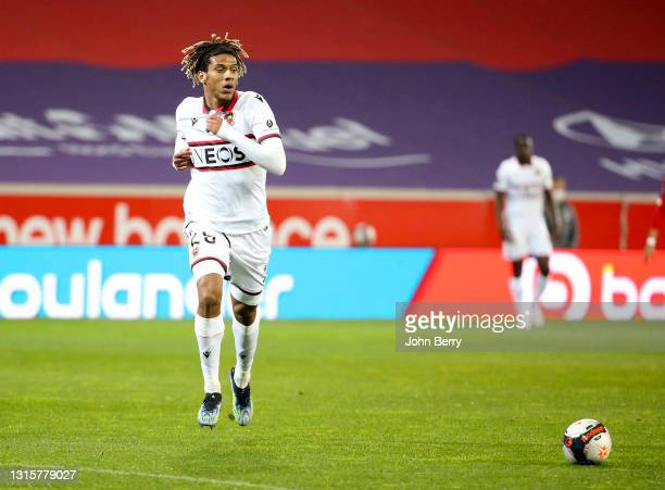 Jean-Clair Todibo of Nice during the Ligue 1 match between Lille OSC and OGC Nice at Stade Pierre Mauroy on May 1, 2021 in Villeneuve d'Ascq near...