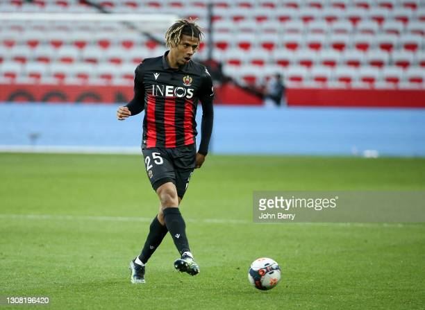 Jean-Clair Todibo of Nice during the Ligue 1 match between OGC Nice and Olympique Marseille at Allianz Riviera stadium on March 20, 2021 in Nice,...