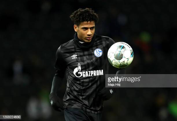Jean-Clair Todibo of Schalke 04 warms up during the Bundesliga match between Hertha BSC and FC Schalke 04 at Olympiastadion on January 31, 2020 in...