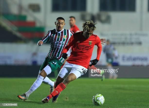 Jean-Clair Todibo of SL Benfica and Paollo Oliveira of Estrela Amadora SAD in action during the Portuguese Cup match between Club Football Estrela da...