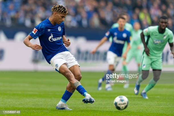 Jean-Claire Todibo of FC Schalke 04 controls the ball during the Bundesliga match between FC Schalke 04 and TSG 1899 Hoffenheim at Veltins-Arena on...