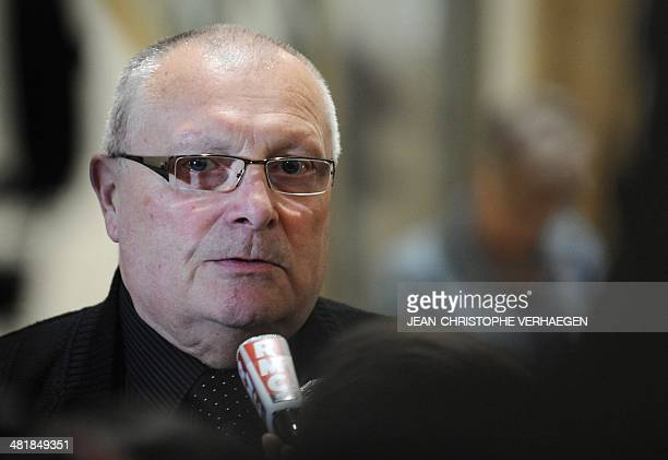 JeanClaude Beining father of Cyril Beining speaks to journalists after the trial of French serial killer Francis Heaulme was postponed on April 1...