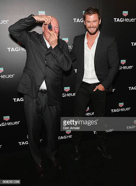 JeanClaude Biver and Chris Hemsworth pose at the Australian launch of Heuer 01 at The Royal Botanic Gardens on February 4 2016 in Sydney Australia