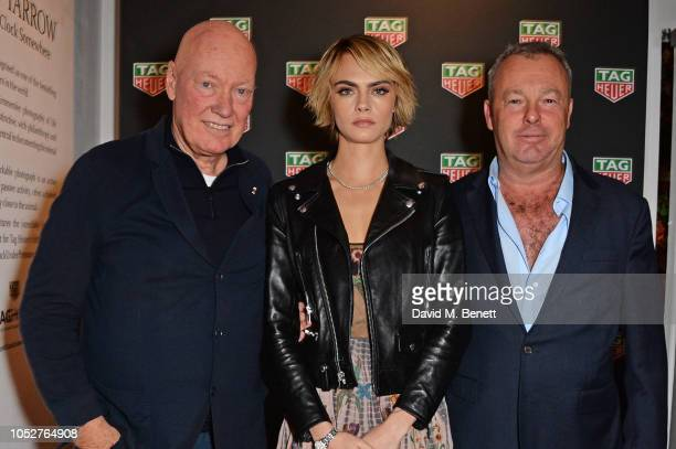 JeanClaude Biver Cara Delevingne and David Yarrow attend the TAG Heuer auction featuring unseen art work from the Don't Crack Under Pressure Campaign...