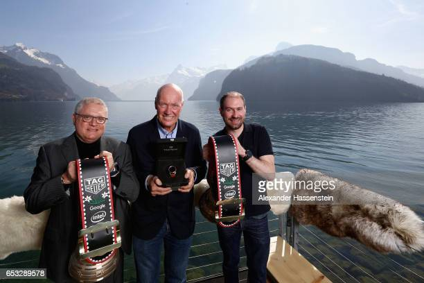 JeanClaude Biver CEO of TAG Heuer and President of the LVMH Watch Division poses with David Singleton VicePresident of AndroidEngineering Google and...