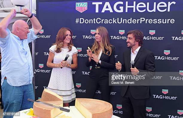 JeanClaude Biver CEO of TAG Heuer Natalie Pinkham and brand ambassadors Cara Delevingne and Fernando Alonso attend the TAG Heuer Monaco Party on May...