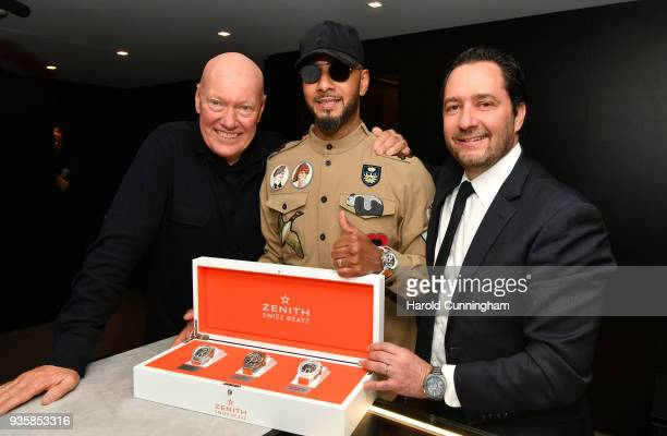 JeanClaude Biver president of LVMH watch division Swizz Beatz and Julien Tornare CEO of Zenith attend the Zenith press conference at the Baselworld...