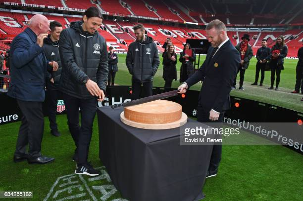 JeanClaude Biver TAG Heuer CEO and President of the LVMH Watch Division Ander Herrera Zlatan Ibrahimovic David De Gea and Wayne Rooney attend the...