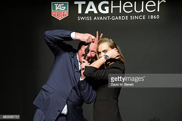 JeanClaude Biver TAG Heuer CEO poses with Cara Delevingne as she joins TAG Heuer as Brand Ambassador to launch the new 2015 campaign on January 23...