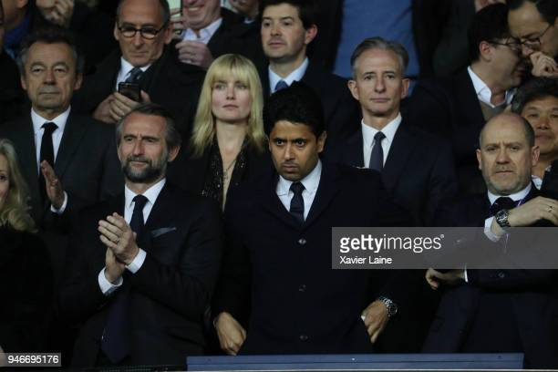 JeanClaude Blanc Nasser AlKhelaifi and Antero Henrique of Paris SaintGermain attend the Ligue 1 match between Paris Saint Germain and AS Monaco at...