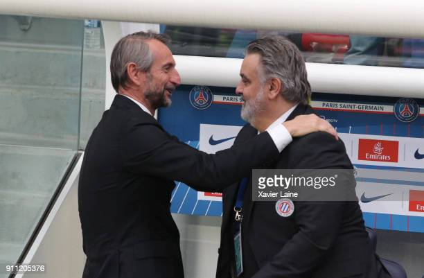 JeanClaude Blanc of PSG and President Laurent Nicollin of Montpellier Herault SC during the Ligue 1 match between Paris SaintGermain and Montpellier...