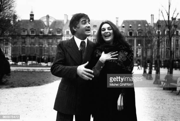 JeanClaude Brialy en compagnie de l'actrice Svetlana Toma de passage en France le 28 décembre 1977 Versailles France
