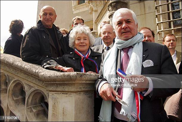 JeanClaude Brialy in the presence of Claude Sarraute and Pierre Bonte in Cande France on April 16th 2005