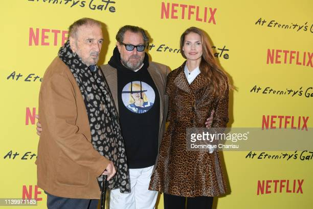 JeanClaude Carriere Julian Schnabel and Louise Kugelberg attend At Eternity's Gate Photocall at Musee du Louvre on April 02 2019 in Paris France