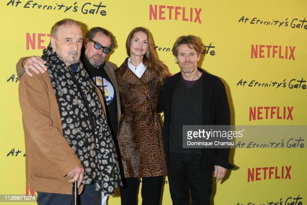 JeanClaude Carriere Julian Schnabel Louise Kugelberg and Willem Dafoe attend At Eternity's Gate Photocall at Musee du Louvre on April 02 2019 in...