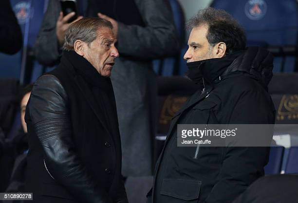 JeanClaude Darmon and Raphael Mezrahi attend the UEFA Champions League round of 16 first leg match between Paris SaintGermain and Chelsea FC at Parc...