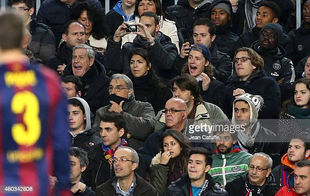 JeanClaude Darmon his wife Hoda Roche Pierre Sarkozy and Jean Sarkozy attend the UEFA Champions League Group F match between FC Barcelona and Paris...