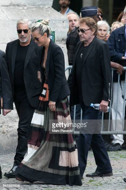 JeanClaude Darmon Laeticia Hallyday and singer Johnny Hallyday attend actress Mireille Darc's Funerals at Eglise SaintSulpice on September 1 2017 in...