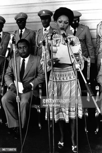 Jean-Claude Duvalier et sa femme Michèle Bennet lors du 10ème anniversaire de l'arrivée au pouvoir du président, Port au Prince le 22 avril 1981,...
