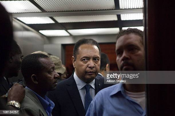 """Jean-Claude Duvalier , the former Haitian leader known as """"Baby Doc"""", takes an elevator to his room in the Hotel Karibe after being questioned by..."""