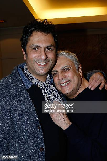Jean-Claude Ghrenassia and his father Enrico Macias attend The Enrico Macias Show at L'Olympia on January 16, 2016 in Paris, France.