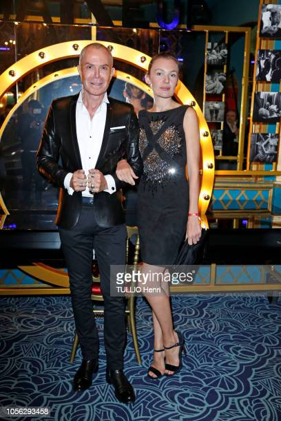 JeanClaude Jitrois and Alice Aufray are photographed for Paris Match at the evening for the fashion freak show by JeanPaul Gaultier at the Folies...