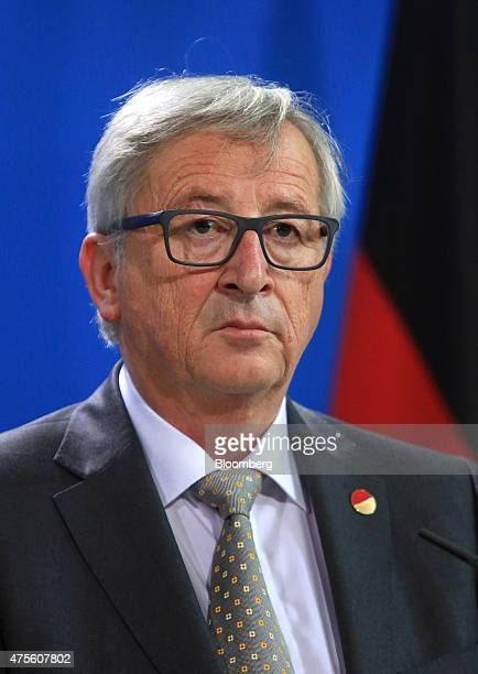 JeanClaude Juncker European commission president listens during a news conference in Berlin Germany on Monday June 1 2015 With technical talks...