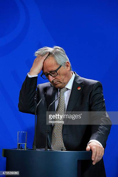 JeanClaude Juncker European commission president reacts during a news conference in Berlin Germany on Monday June 1 2015 With technical talks...