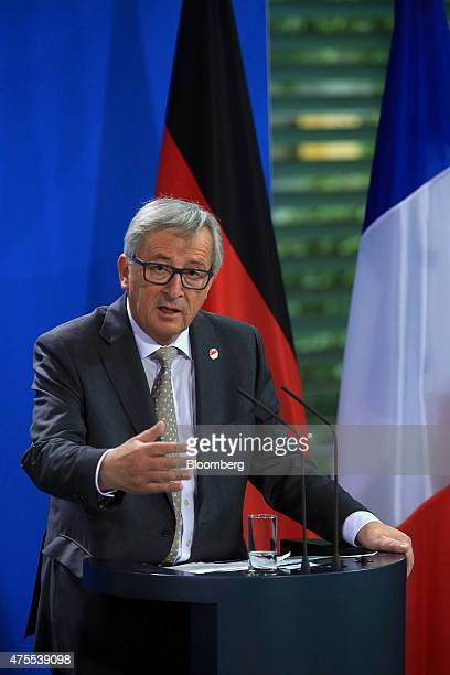 JeanClaude Juncker European commission president speaks during a news conference in Berlin Germany on Monday June 1 2015 With technical talks...