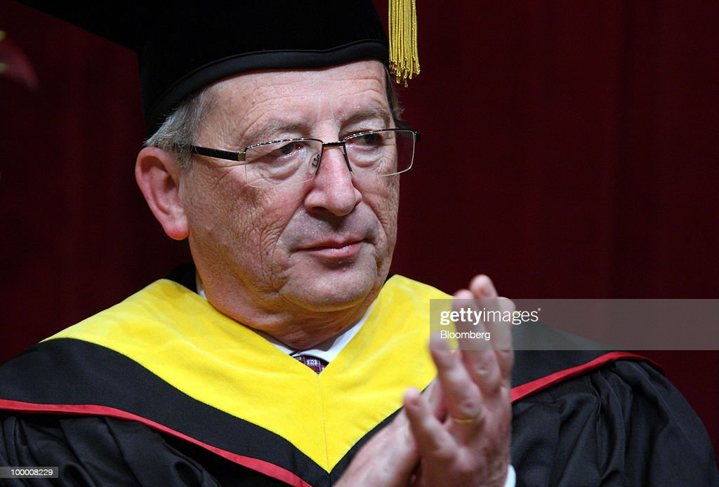Jean-Claude Juncker, Luxembourg's prime minister and president of the Eurogroup, attends a ceremony awarding him an honorary doctorate degree at Sophia University in Tokyo, Japan, on Thursday, May 20, 2010. Juncker, who leads the group of euro-area finance ministers, said earlier today that while the pace of the euro's decline is a concern, foreign-exchange intervention isn't an urgent issue. Photographer: Tomohiro Ohsumi/Bloomebrg